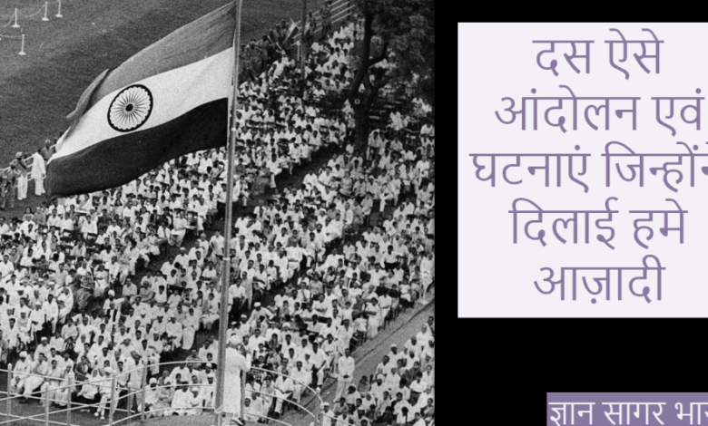 events that led to Indian Independence in hindi